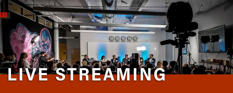 live streaming a corporate panel in cincinnati. Professional Videographer service.
